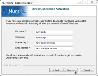 Collecting user and license information for NumXLdirect method activation