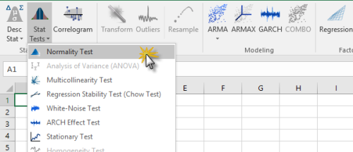 Locate and click on the Normality test icon in NumXL toolbar