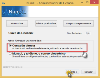 NumXL License manager with direct activation mode enabled