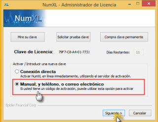 manul license activation method in NumXL License manager