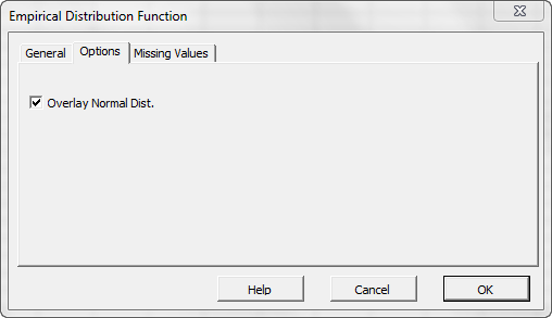 Options tab of NumXL EDF Wizard or dialog