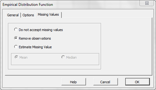 Missing values treatment tab of NumXL EDF Wizard or dialog