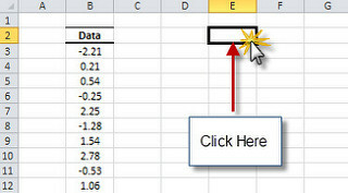Select an empty cell in your excel worksheet to store the histogram output table