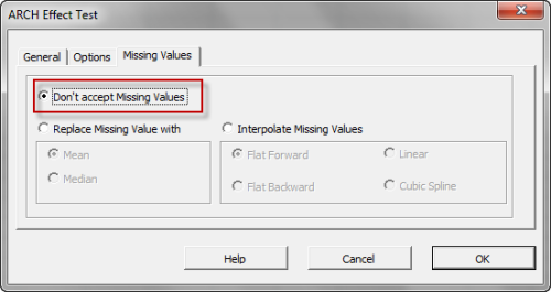 Missing Values treatment tab in NumXL ARCH Effect Dialog