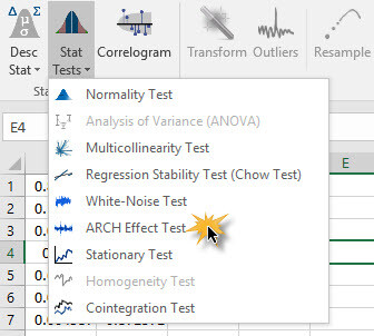 ARCH Effect Test icon in Excel 2007/2010