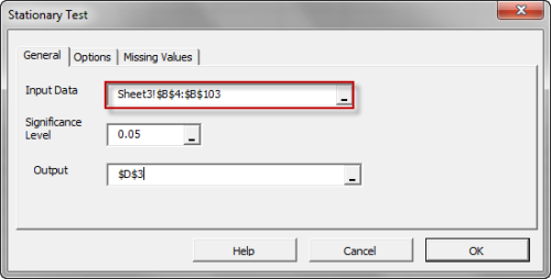 General tab in NumXL Stationary test dialog in Excel