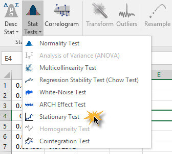 Stationary Test icon in NumXL toolbar in Excel 2007/2010