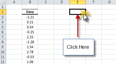 select an empty cell where you wish the stationary test results to be generated in your excel worksheet