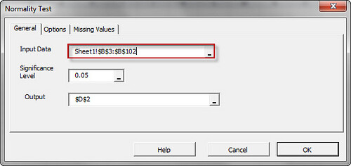 Select the input data cells range in The normality test dialog/wizard