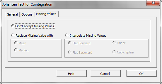 Missing values tab of NumXL Johansen test of Cointegration Wizard or dialog