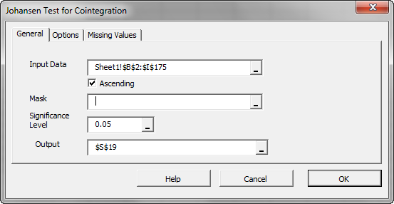 General tab of NumXL Johansen Cointegration test Wizard or dialog