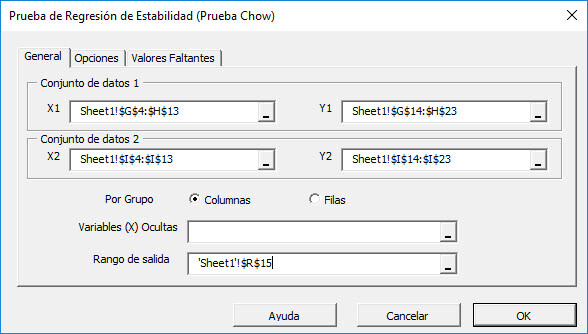 Select the input data cells range in The regression stability test dialog/wizard
