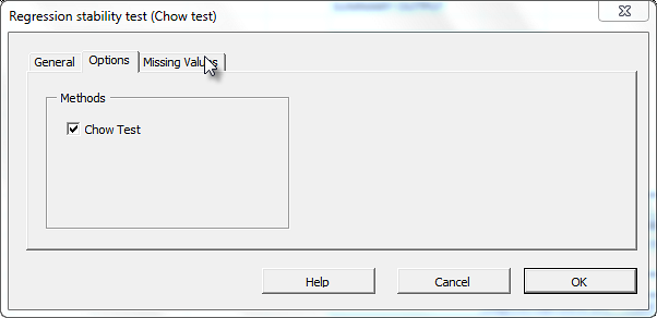 Options tab in the Normality Test dialog in NumXL