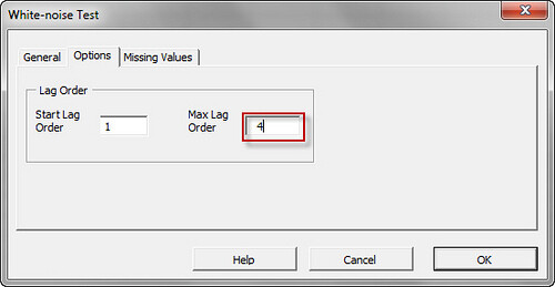 Option tab in the NumXL White Noise Test Wizard in Excel 2007/2010