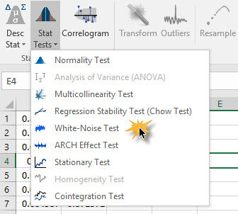 Normality Test icon in NumXL toolbar in Excel 2007/2010