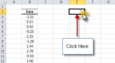select an empty cell in your excel worksheet where you wish the NumXL White noise test result to be generated