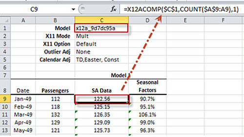 Using the 12 ARIMA in Excel model's output in your worksheet