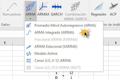 Select ARIMA in NumXL Toolbar