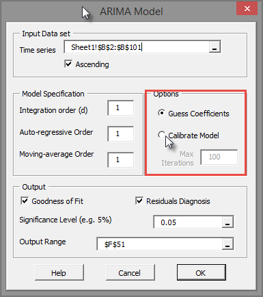 ARIMA Model Wizard option for calibrating values of the model's values