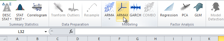Select ARMAX in NumXL Toolbar