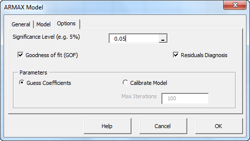 ARMAX Model Wizard - Options tab