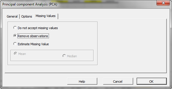 Missing values treatment tab in NumXL principal components analysis in Excel Wizard or dialog. The image shows the default selection - remove missing values