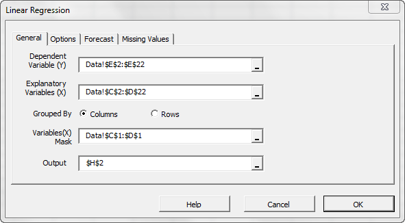 The general tab in NumXL regression wizard, note that cells range for the mask variable is selected