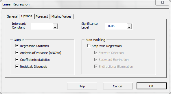 Options tab in NumXL Regression wizard showing the common output selected
