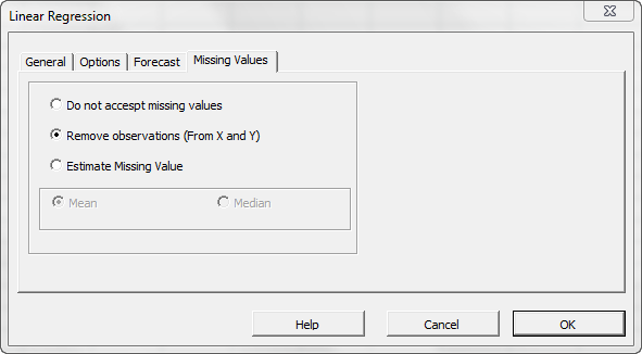 The missing values tab in NumXL regression wizard or dialog, the image shows remove missing values option selected