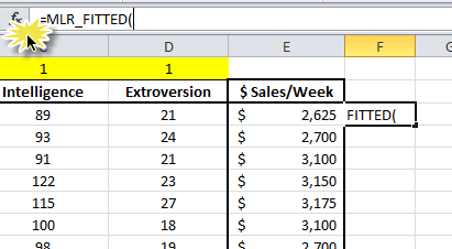 Typing MLR_FITTED in the formula bar to compute the leverage factor and/or cooks distance