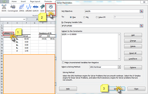 ARMA calibration using NumXL shortcut to initializes Excel Solver