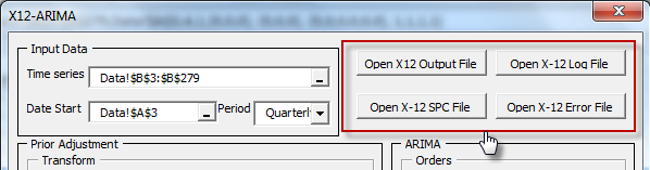After successful run of x12a program, the output files button in NumXL X12-arima wizard becomes available