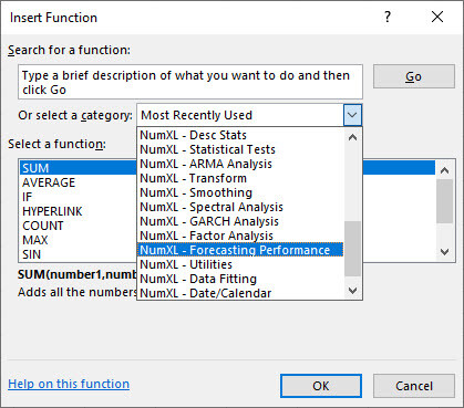 The Insert Function dialog in Excel showing NumXL different categories