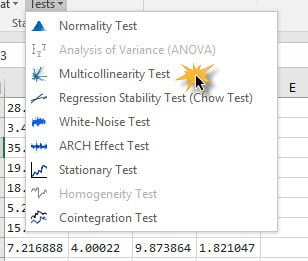 Locate and click on the mult-collinearity test icon in NumXL toolbar