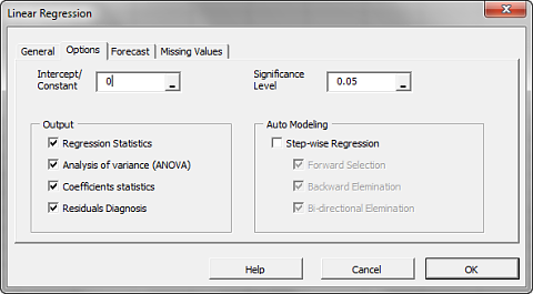Options Tab of NumXL regression wizard for Microsoft and Russell 3000 monthly excess returns