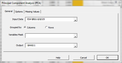 General tab of NumXL Principal component analysis dialog or wizard