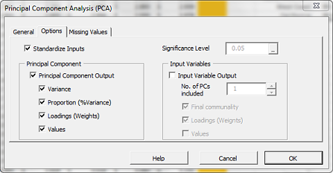 Options tab of NumXL principal component analysis wizard or dialog