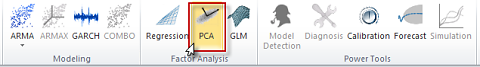 Principal component analysis icon in NumXL toolbar or ribbon in Excel