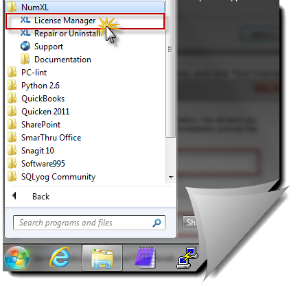 Locating NumXL license manager using windows start menu