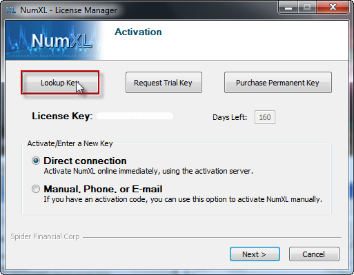 Lookup license key using NumXL License manager