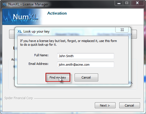 step 2, fill in your name and email address to lookup your license key using NumXL License manager