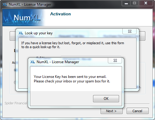 Confirmation message at the end of numxl license key lookup in License manager