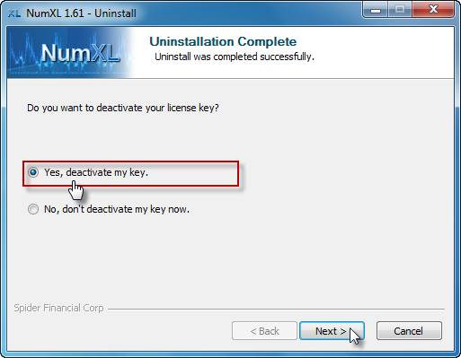 NumXL uninstaller prompts user to deactive the license key