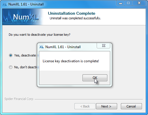 Confirmation message after NumXL uninstaller deactivated the License key