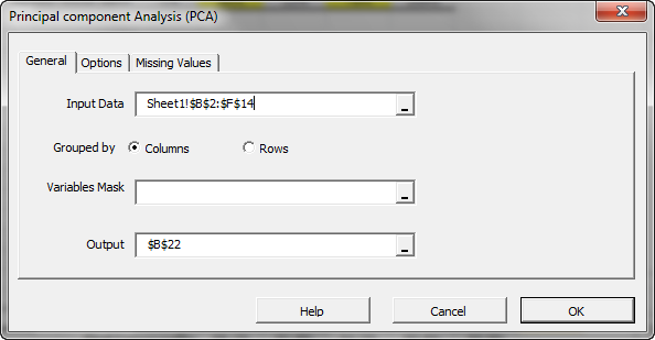 General tab of NumXL principal components analysis in Excel Wizard or dialog, no mask array is specified