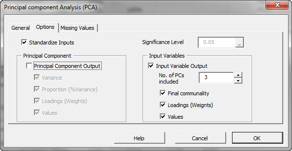 Options tab in NumXL principal components analysis in Excel Wizard or dialog, the screen shows PCA output unchecked, and the input variables out is checked and number of components is set to three