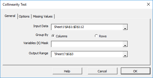 Select the input data cells range in The multi-collinearity test dialog/wizard