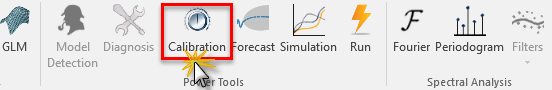 Selecting the calibration icon in NumXL toolbar