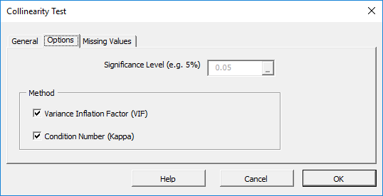 Options tab in the mult-collinearity Test dialog in NumXL